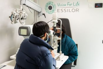 Receiving a eye exam in the mobile unit
